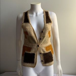 Vintage Helen Harper Knit Vest w/Calf Leather